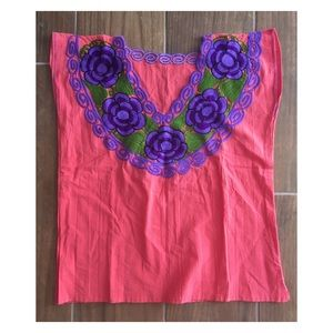 Embroidery Mexican Blouse Vibrant Boho Top